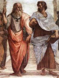 Plato and Aristotle arguing in the School of Athens