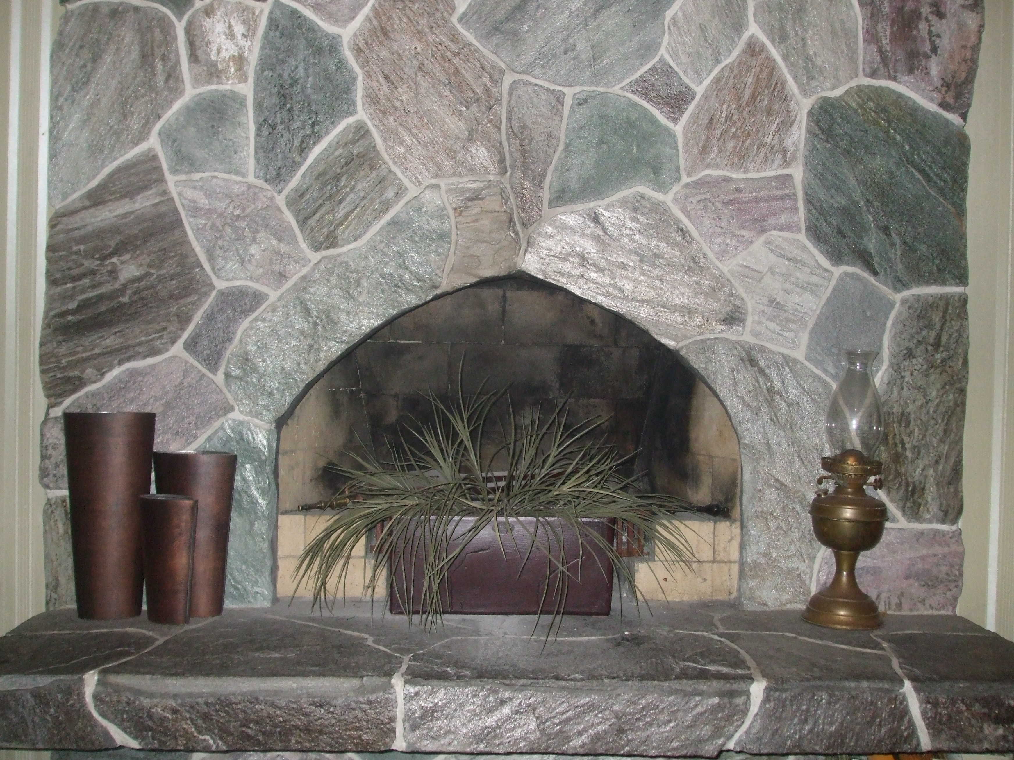 Our schist flagstone fireplace for Flagstone fireplace