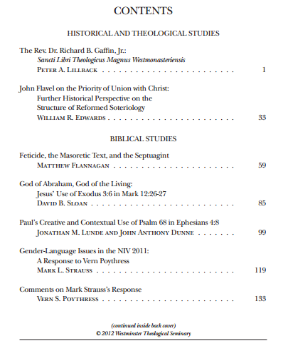 The Westminster Theological Journal