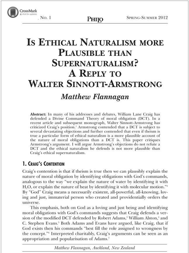 Is Ethical Naturalism more Plausible than Supernaturalism? A Reply to Walter Sinnott-Armstrong